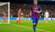 Leo Messi festeja un tanto con el Barcelona en Champions League