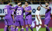 Jugadores merengues felicitan a Morata tras una anotación