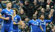 Willian celebra tras anotar en el partido contra el Manchester City