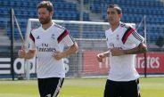 Alonso y Di María en un entrenamiento del Real Madrid