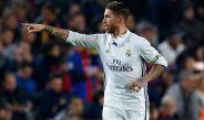 Sergio Ramos festeja su gol contra el Barcelona
