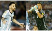 Messi y Romero, durante el juego entre Argentina y Chile