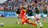 Arjen Robben durante el partido contra México en Brasil 2014