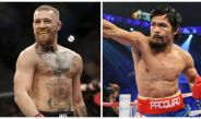 McGregor, peleador de UFC, y Pacquiao, durante diferentes eventos deportivos