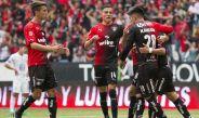 Jugadores de Atlas festejan tras el gol de Alustiza