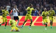Aubameyang festeja su gol contra el Eintracht en la Final de la DFB Pokal