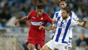 Illarramendi busca el balón en juego contra el Espanyol