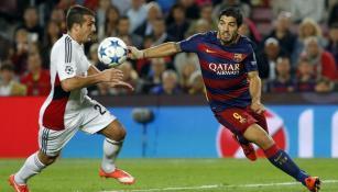 Luis Suárez durante un partido de la Champions League
