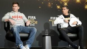 Messi y Cristiano en conferencia de prensa