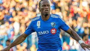 Didier Drogba festeja un gol con el Impact de Montreal
