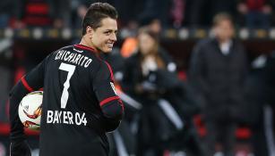 Chicharito tras marcar un gol con Leverkusen