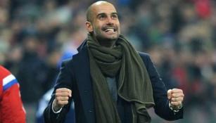 Pep Guardiola emocionado en el banquillo de Munich