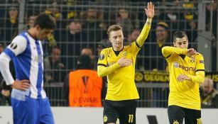 Marco Reus festeja su gol en el partido