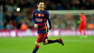Lionel Messi festejando una anotación con el Barcelona