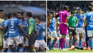 Jugadores de Cruz Azul reclaman penaltis contra América y Pumas