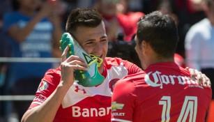 Enrique Triverio celebra un gol de Toluca
