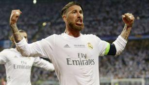 Sergio Ramos festeja su anotación en San Siro