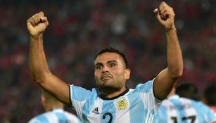 Gabriel Mercado celebrando un gol con Argentina