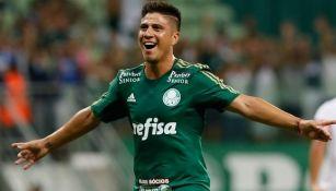 Cristaldo celebra un gol con Palmeiras