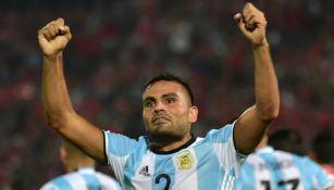 Gabriel Mercado celebrando un gol la Argentina