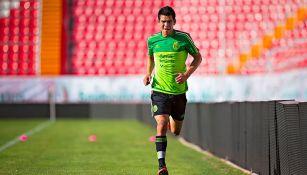 Lozano, en un entrenamiento con la Selección Nacional