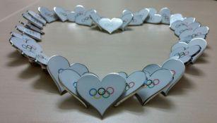 Corazones con el logo de los Juegos Olímpicos