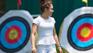 Paola Longoria visita a la Selección Mexicana de tiro con arco