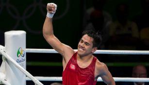 Misael Rodríguez en festejo después de su victoria en Río 2016