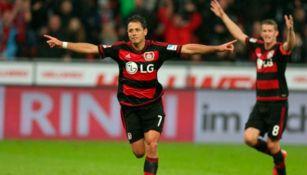 Javier Hernández celebra un gol con el Bayer Leverkusen