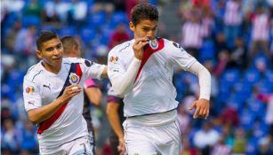 Ángel Zaldívar celebra su gol con el Rebaño