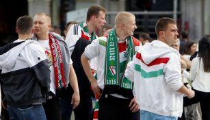Aficionados del Legia de Varsovia en la Puerta del Sol de Madrid
