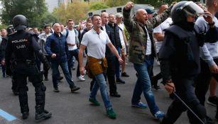 Aficionados del Legia son escoltados por la policía de Madrid
