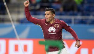 Romero celebra una de sus anotaciones en el Mundialito