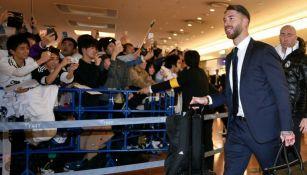 Sergio Ramos, defensa merengue, a su llegada al aeropuerto de Tokio