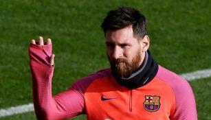 Lionel Messi, durante un entrenamiento con el Barcelona