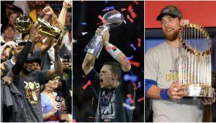 LeBron, Brady y Zobrist levantan los respectivos trofeos de sus Ligas