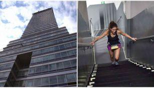 Una corredora sube los escalones de la Torre Latinoamericana