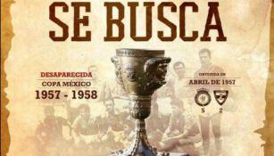 Anuncio que publicó León con la foto de la Copa desaparecida