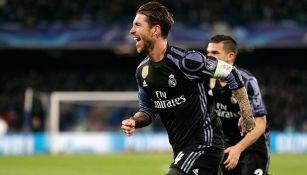 Ramos celebra un gol contra el Nápoles en Cuartos de Final de Champions