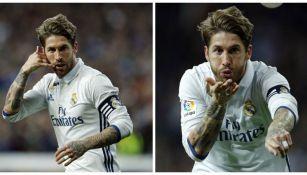 Sergio Ramos festeja su gol contra el Betis