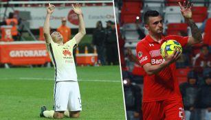 Aguilar y Triverio, celebrando un gol en el Clausura 2017
