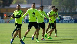 Jugadores del América, durante un entrenamiento