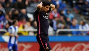 Luis Suárez se lamenta en un juego del Barcelona