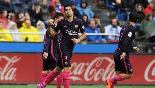 Luis Suárez celebra un gol del Barcelona