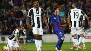 Messi lamenta una falla frente al marco de Buffon en Champions