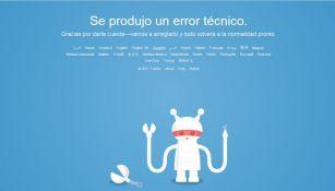 Mensaje de Twitter tras intentar ingresar a la página