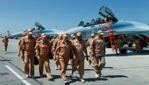 El Ministerio de Defensa ruso en la base aérea de Siria