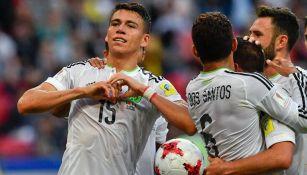 Moreno celebra el gol frente a Portugal