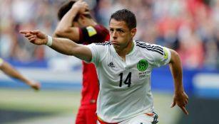 Javier Hernández festeja si gol contra Portugal en Copa Confederaciones