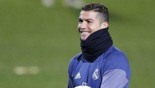 Cristiano Ronaldo durante un entrenamiento con el Real Madrid